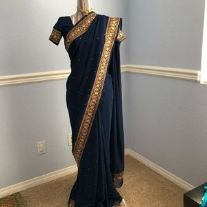 Navy Blue and Gold Saree with Blouse